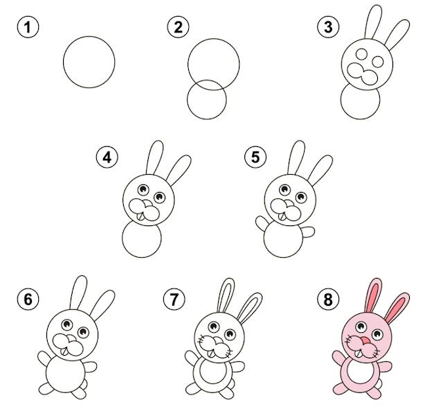 كيفية رسم ارنب خطوة بخطوة للاطفال بالقلم الرصاص