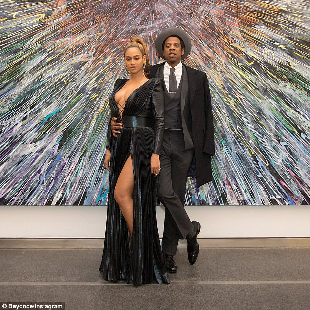 Beyonce rocks plunging metallic dress at the Roc Nation Party in NY