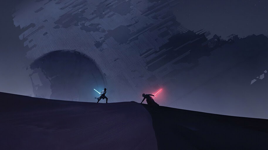 rey vs kylo ren minimalist star wars the rise of skywalker uhdpaper.com 4K 7.718