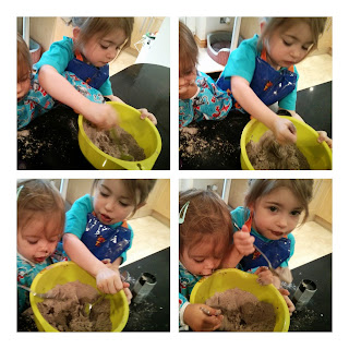 girls making brownies