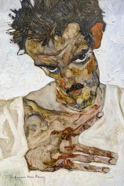 Egon Schiele: Autorretrato con Cabeza Baja - Leopold Museum, Viena, por El Guisante Verde Project