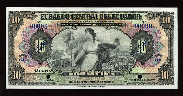 World paper money Ecuador currency Sucres banknote bill