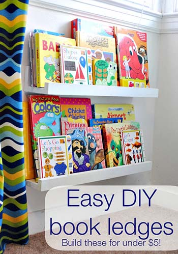 Unique diy book storage solutions home crafts by ali bookshelf ledges from classy clutter they are only 5 to make and adorable too pick your favorite paint color for the shelves and get diy ing solutioingenieria Choice Image