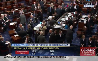 U.S. Senate voted 55 to 45 to reject the repealing of Obamacare