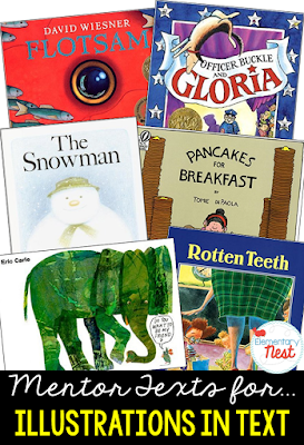 Primary mentor text suggested book list for illustrations in text- RL1.7, RL2.7, RL3.7 focusing on how illustrations in a text can tell an entire story or add to a story that is told through text- a few stories are even wordless