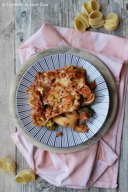 Experimente aus meiner Küche: Gefüllte Muschelnudeln mit Thunfisch und Brokkoli