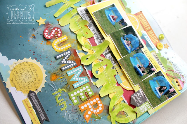 """Awesome Summer Fun"" layout By Bernii Miller using BoBunny Lemonade Stand collection."