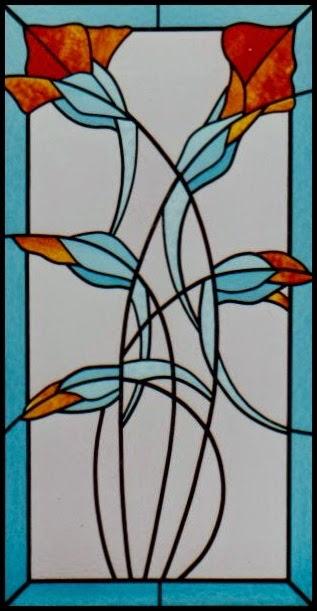 vitráž květiny