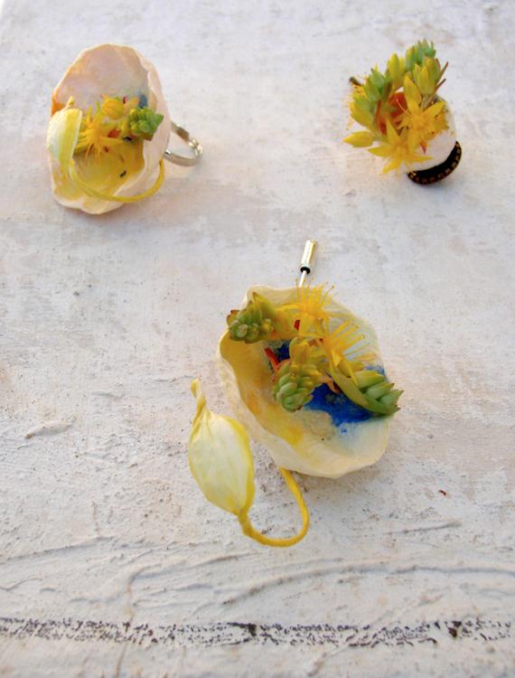 eco gioielli di carta per matrimonio in stile acquerello: giallo blu arancio