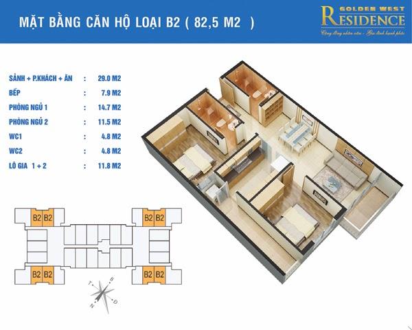 Căn B2 82,5 m2