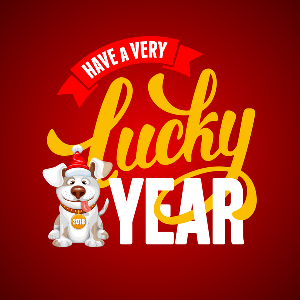 2018 happy year of dog vector material