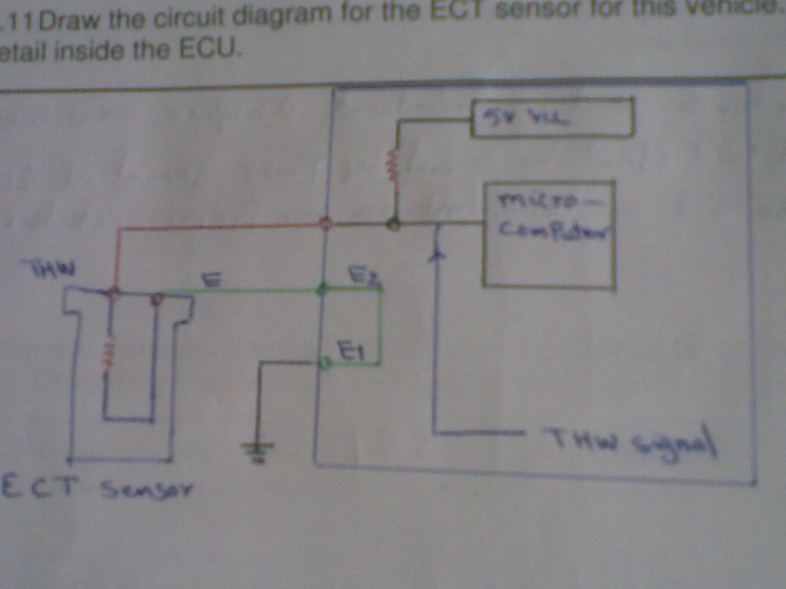 we can see in the diagram the ect sensor ground connectet to ecu if the ground is not good the circuit is not complate there is only one refrence volatge  [ 1600 x 1200 Pixel ]