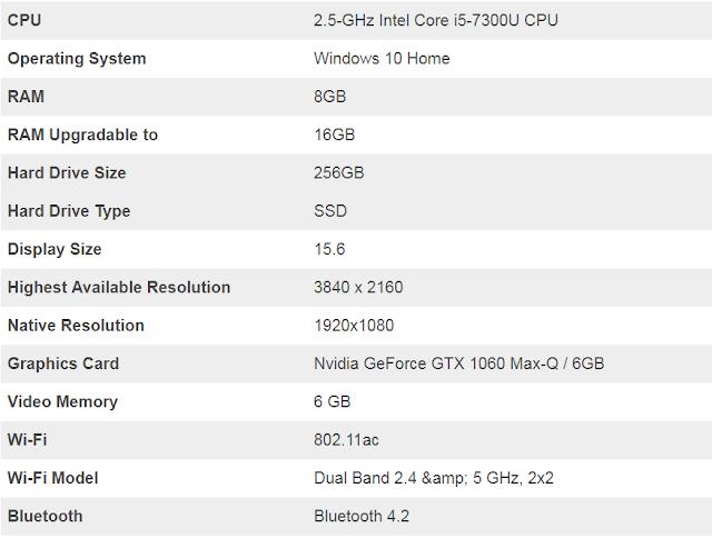 مواصفات لاب توب  Dell Inspiron 15 7000 Gaming
