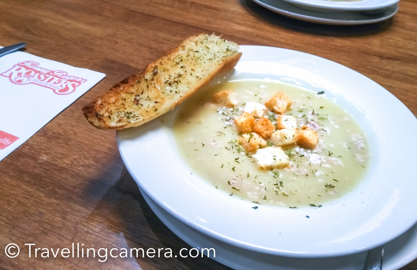 The menu itself is beautifully designed and one good thing is that you get (almost) what you see. We started with ordering a Country Style Chicken Soup, split 1/2. The serving is large enough for one order to serve two. And you also get a slice of toasted garlic bread on the side.