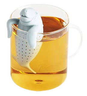 A tea infuser in the shape of a walrus.