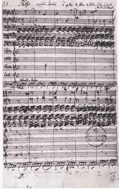 Page 1 of the MS of Bach's St John Passion