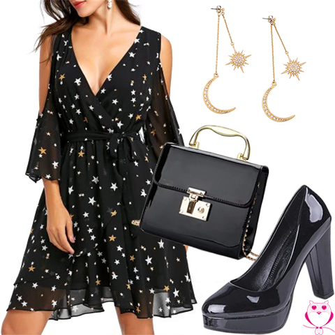 Look para festa com vestido preto de estrelas