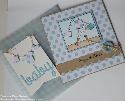 Handmade card and tag set for baby shower MFT Baby Bump Bring on the Blue