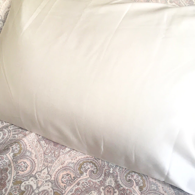 Photo of the silk pillowcase on my bed