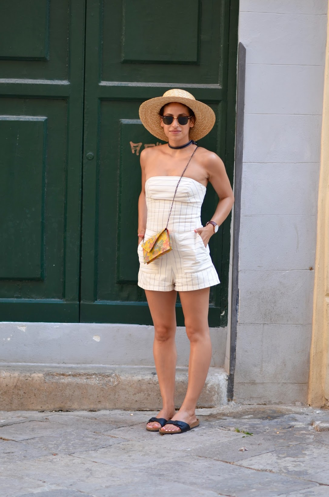 streetstyle in Palermo, italy, Zara japanese denim, playsuit, striped playsuit, straw fedora, summer style, what to wear in Italy