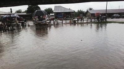 Ozoro market in Delta State overridden by flood water