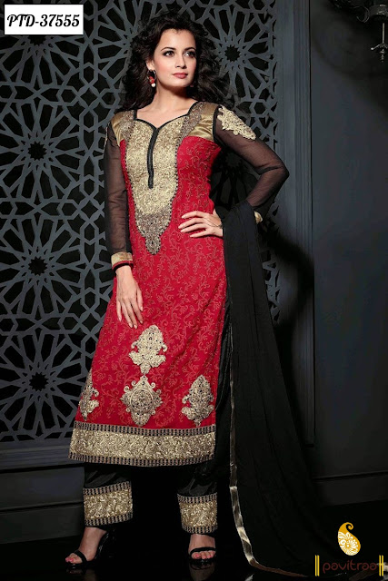 Karva Chauth festival Dia Mirza special red chiffon embroidery salwar suit online shopping at pavitraa.in