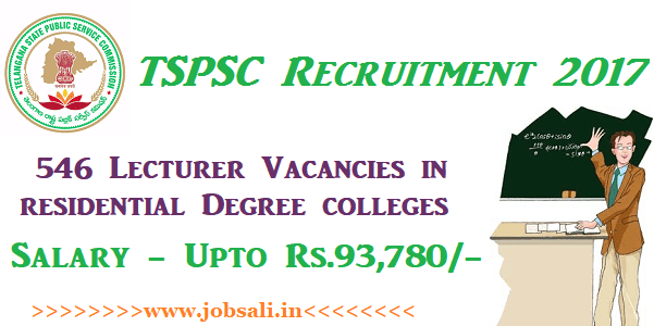 TSPSC Notification 2017, TSPSC Lecturer Notification, TSPSC Lecturer Recruitment 2017