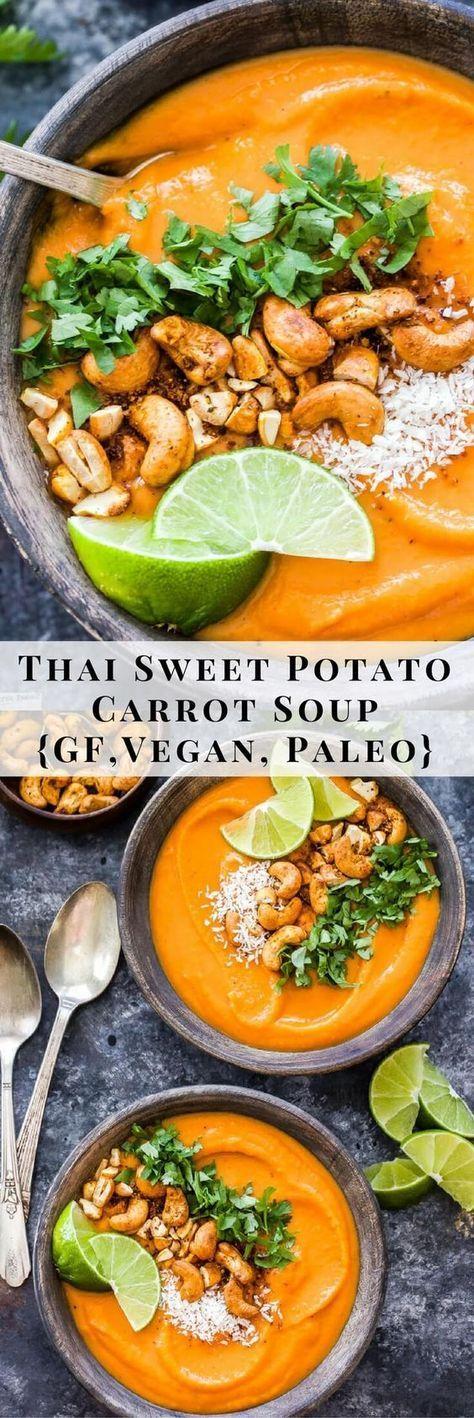 THAI SWEET POTATO CARROT SOUP #potato #sweetpotato #thailandfood #carrot #carrotsoup #soup #souprecipes #healthysouprecipes #healthysoup