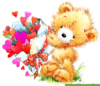 Imágenes de amor con osito de peluche y corazones de colores