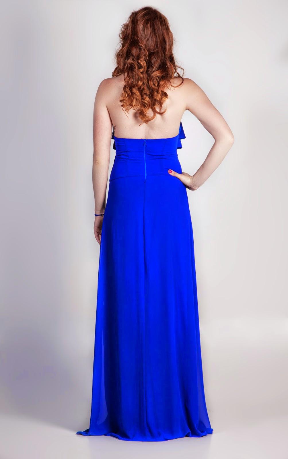 Vestido Largo color azul eléctrico