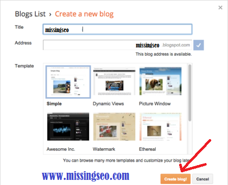 how to  create free blog on blogspot-www.missingseo.com