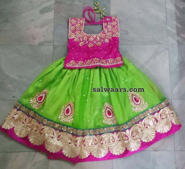 Green and PInk Sequnce Lehenga