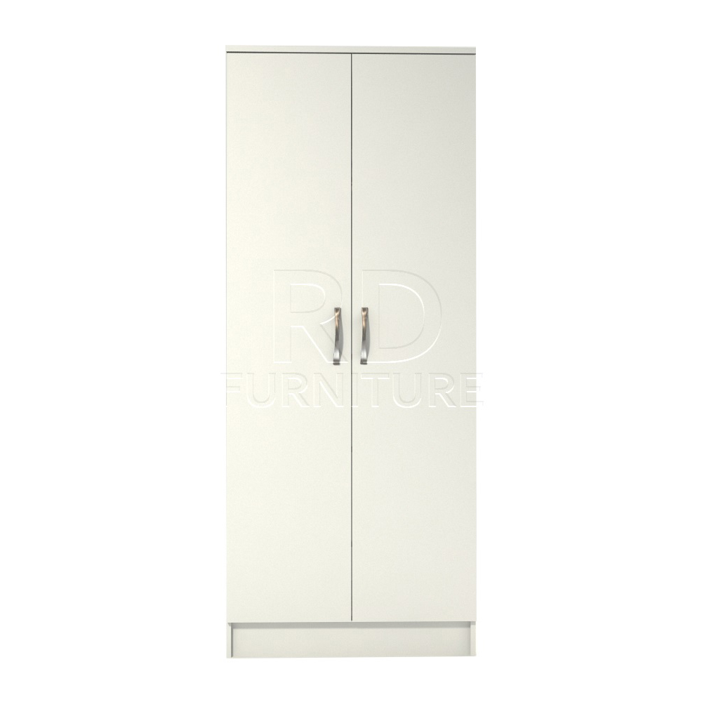 Classic 2 door wardrobe white finish rdfurniture for Wardrobe door finishes
