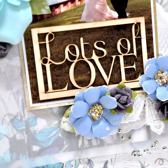 How to Layer Chipboard and Flowers on a Wedding Layout by Dana Tatar for FabScraps