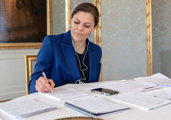 Crown Princess Victoria wore Rodebjer Zoe blazer and darcel trousers and Rodebjer navy blue silk blouse