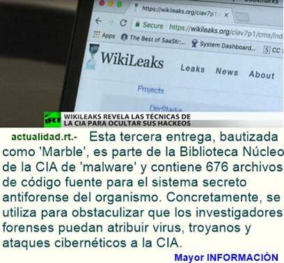 Programa 'Marble': WikiLeaks revela las tácticas secretas de la CIA para 'disfrazar' sus 'hackeos'