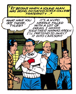 "Batman (1940) #3 Page 24 Panel 5: Fraternity hazing goes very, very wrong or ""how to make the world's ugliest man."""