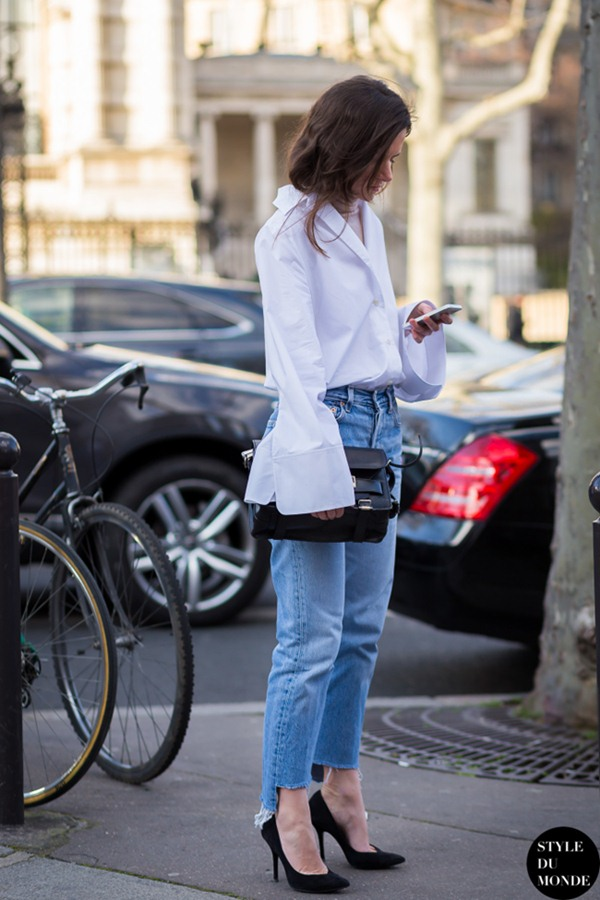 White Button-Down Shirt and Jeans