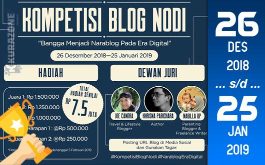 Kompetisi Blog - Nodi Berhadiah Total Uang Tunai 7,5 Juta Rupiah (25 Januari 2019)