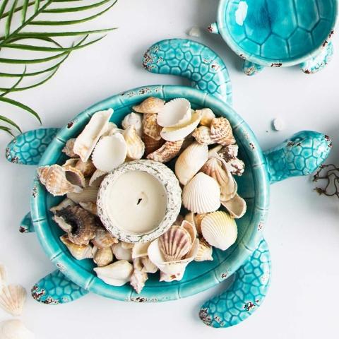 Sea Turtle Dish Aqua Blue