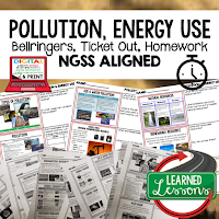 Pollution Worksheets, Earth Science NGSS Bellringers, Science Warm Ups, Science Homework, Science Ticket Out