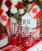 Canada Day Decor on Kitchen Sideboard