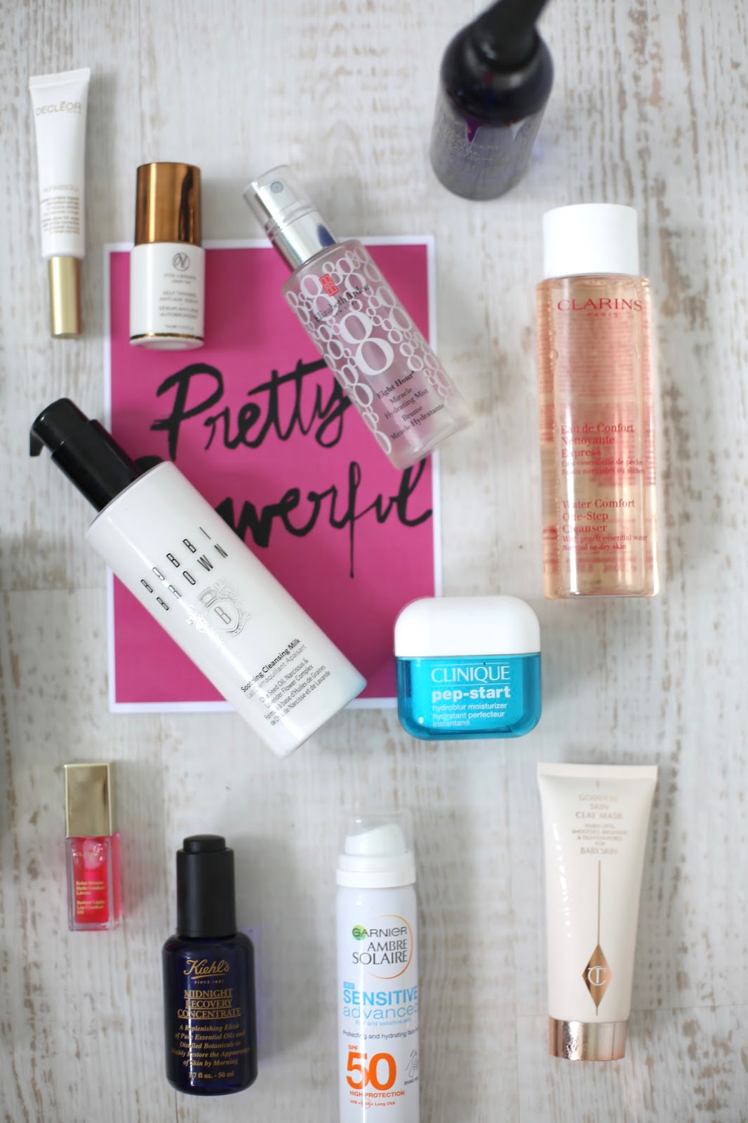 skincare product flat lay