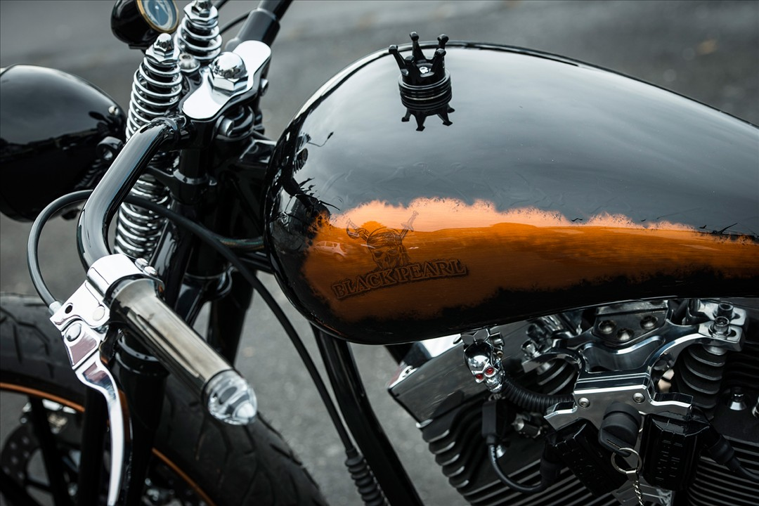 Unreal-soaked brutality custom black pearl from Bobber Garage 5