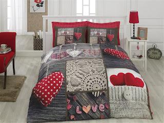 Cotton Box Floral 3D Nevresim Takımı Nina Kırmızı