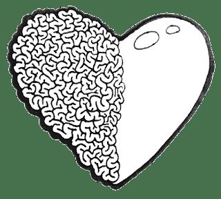 Obrázek srdce, jehož pravá hemisféra je mozkem, což má symbolizovat myšlenkopocity (autor ilustrace: Sebastián Wortys)