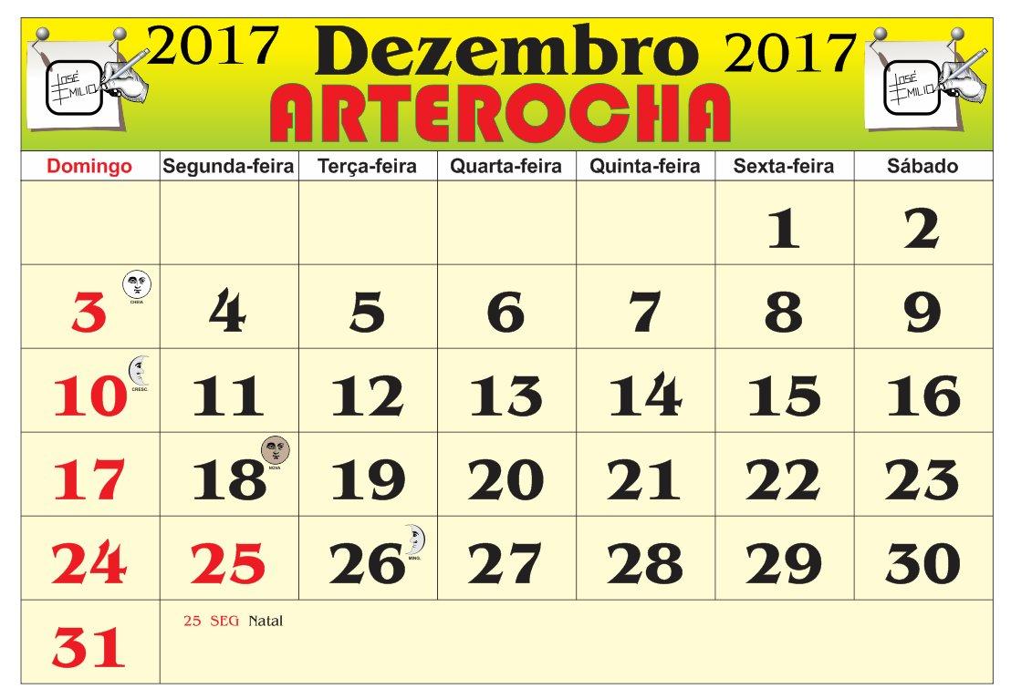 Arterocha Calendário Mes De Dezembro 2017