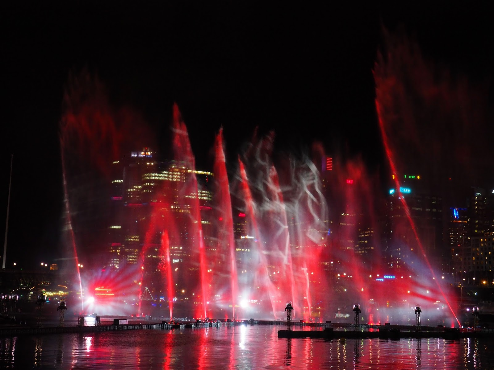Vivid Sydney Darling Harbour Fountains