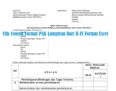 Clik Contoh Format PAK Lampiran Dari II-IV Format Excel