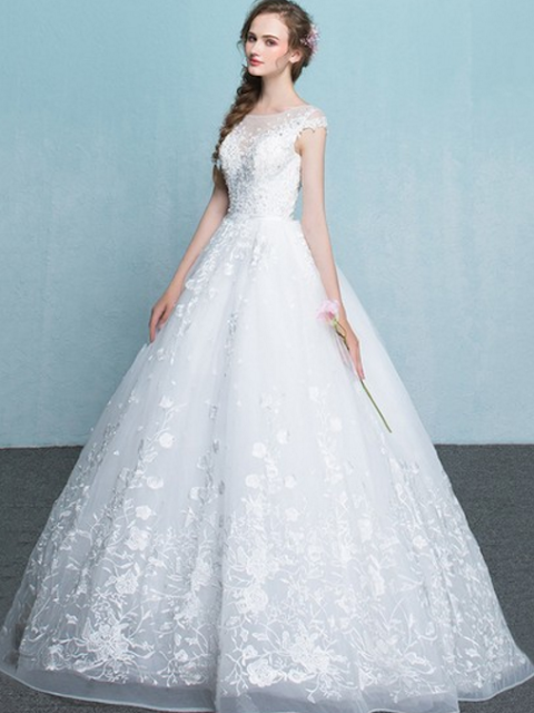 Organza Scoop Neck Ball Gown Floor-length with Appliques Lace Wedding Dresses